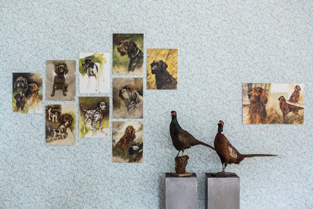 Honden van Rien Poortvliet in de muzieksalon van museum STAAL